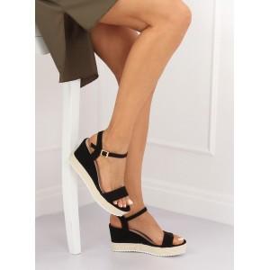 bc9f16613c0a1 Čierne dámske sandále na vysokej platforme