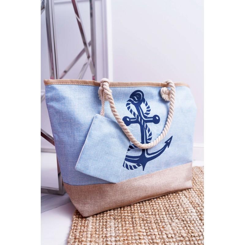 55184fbe8f Modrá dámska plážová taška s námorníckym motívom