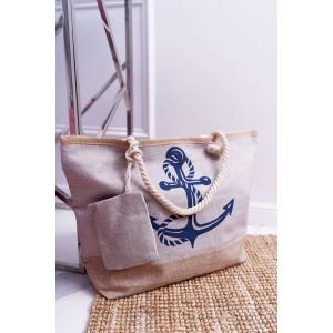 Plážová taška s námorníckym motívom v khaki farbe