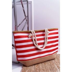 Trendová pásikavá taška na pláž červenej farby