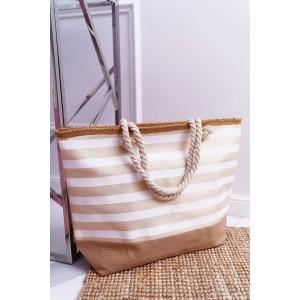 Dámska plážová taška s pásikmi béžovej farby