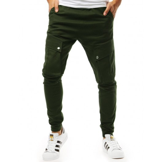 Štýlové pánske tepláky v zelenej farbe