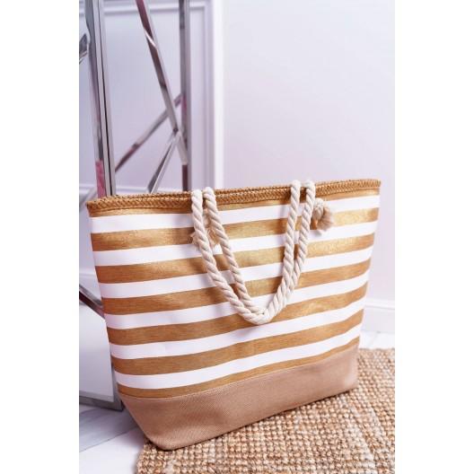 Originálna dámska plážová taška so zlatými pruhmi