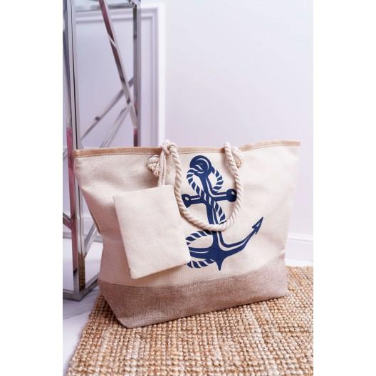 Béžová dámska námornícka taška na pláž