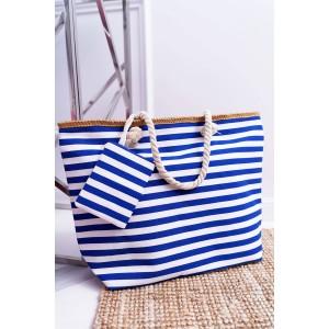 Námornícka plátená taška na pláž modrej farby