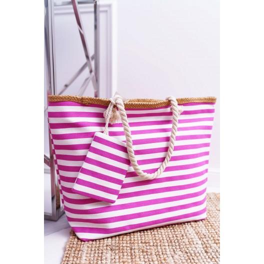 Štýlová plážová taška ružovej farby s praktickým vreckom