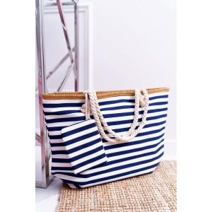 Veľká letná plážová taška s vreckom v modrej farbe