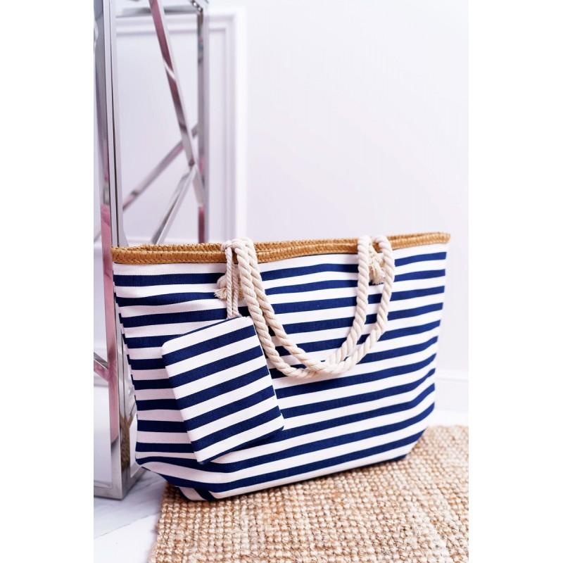 ce68521dee Veľká letná plážová taška s vreckom v modrej farbe