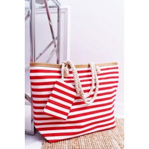 Červená dámska plažová taška na leto