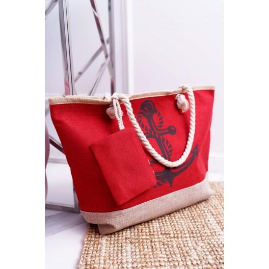 Veľká plážová taška s námorníckym motívom červenej farby