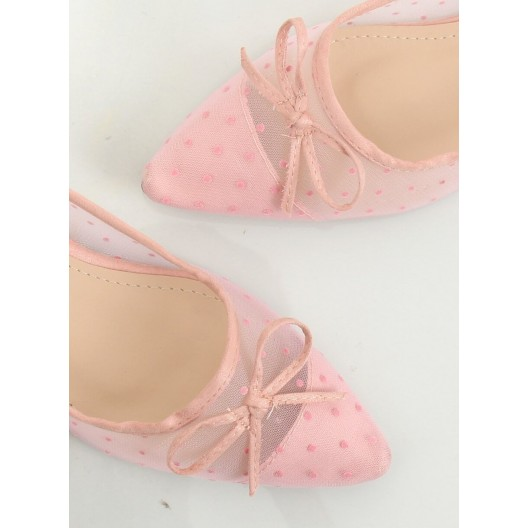 Rúžové dámske balerínky s priesvitnou častou