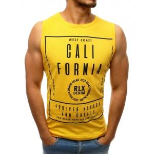 Moderné pánske tričko bez rukávov v žltej farbe