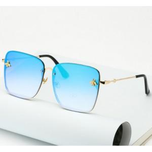 Modré kovové slnečné okuliare pre dámy