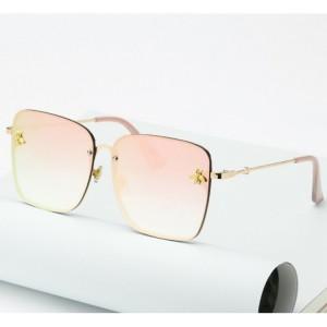 Elegantné bezrámové slnečné okuliare ružovej farby