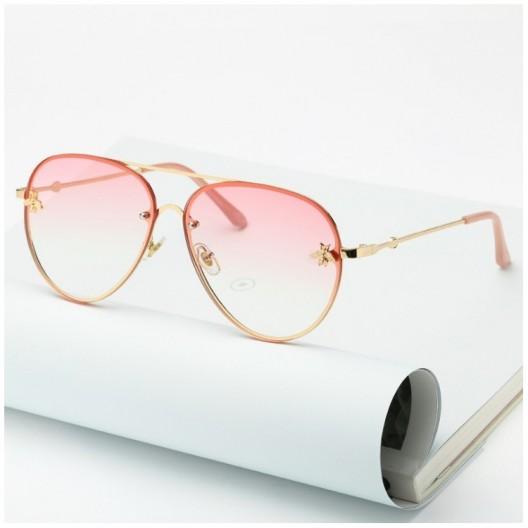 Dámske slnečné okuliare ružovej farby s kovovým rámom