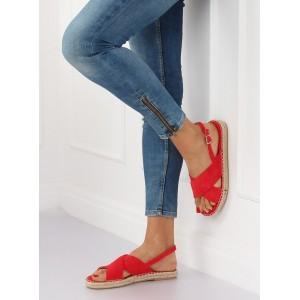 Červené dámske nízke sandále espadrilky s prekríženými pruhmi