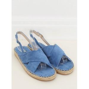 Dámske modré sandále na nízkej podrážke s pletencovým lemom