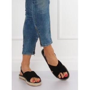 Čierne dámske sandále s pletencom a zapínaním na remienok