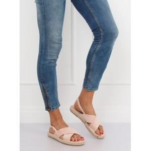 Pohodlné dámske sandále béžové na nízkej pletencovej podrážke