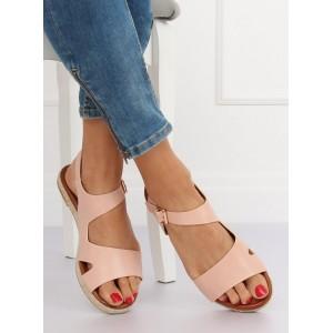 Púdrovo ružové dámske sandále na nízkej podrážke