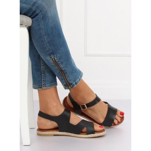 Pohodlné dámske čierne sandále na leto s viazaním okolo nohy