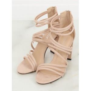 Elegantné dámske béžové pruhované sandály na plnom opätku