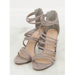 Spoločenské dámske pruhované sandále v sivej farbe