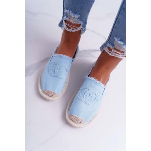 Dámske svetlo modré plátené slip on espadrilky s módnym designom