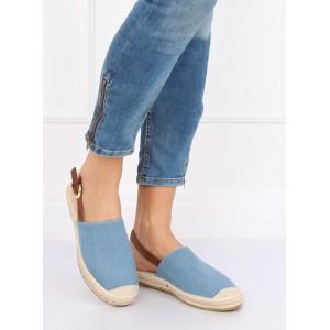 Trendy dámske sandále espadrilky v svetko modrej farbe a voľnou pätou