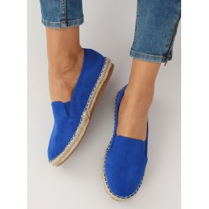 Štýlové kráľovsky modré dámske espadrilky s pletencom a bočnou gumou