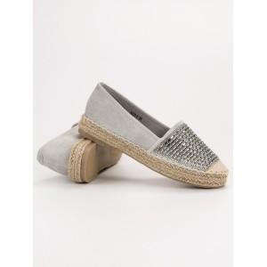 Pohodlné dámske sivé espadrilky s pletencom a trendy kamienkami