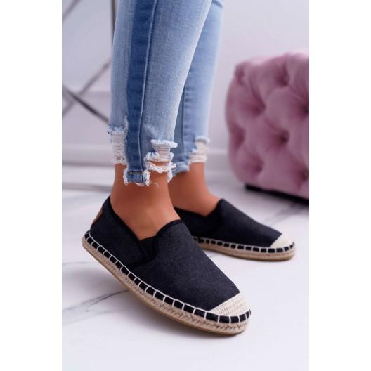 Trendy dámske čierne espadrilky s módnym prešitím a pleteninou