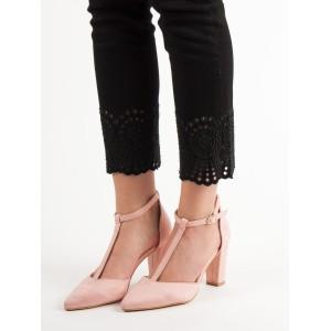 VEĽKOSŤ 40 Dámske semišové sandále ružovej farby