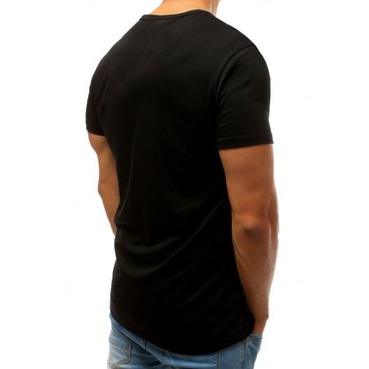 Letné pánske tričko čiernej farby s farebným nápisom