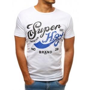 Biele pánske tričko s farebnou potlačou a krátkym rukávom