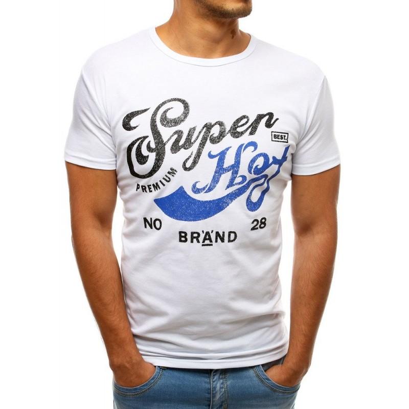0b8ac1571 Biele pánske tričko s farebnou potlačou a krátkym rukávom