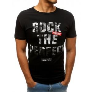 Štýlové pánske tričko čiernej farby s krátkym rukávom