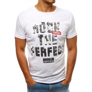 Biele pánske tričko s potlačou a okrúhlym výstrihom