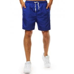 Štýlové modré plavky boxerky s bočnými vreckami a ozdobnými pruhmi