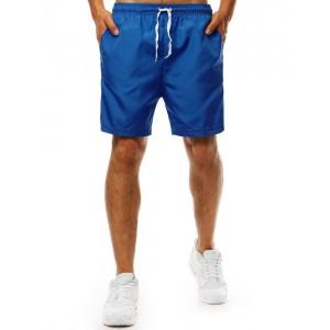 Modré pánske plavky s bočnými vreckami a ozdobnými bočnými pruhmi