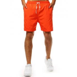 Moderné pánske plavky v neónovo oranžovej farbe s bočnými vreckami