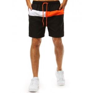 Čierne pánske plavky s výrazným farebným pásom a bočnými vreckami