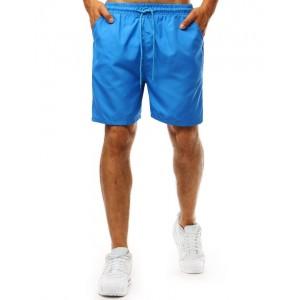 Jednofarebné modré pánske plavky s bočnými vreckami