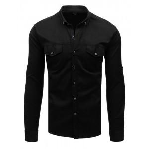 Moderná pánska čierna košeľa slim fit so zapínaním na gombíky