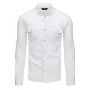 Štýlová pánska biela  košeľa s dlhým rukávom a prednými vreckami