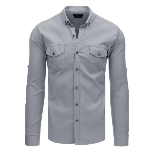 Pánska košeľa s dlhým rukávom v sivej farbe a módnymi vreckami
