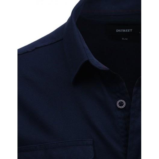 Originálna tmavo modrá pánska košeľa s krátkym rukávom a s vreckami
