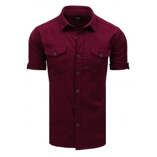 Štýlová pánska bordová košeľa na voľný deň s detailným prepracovaním