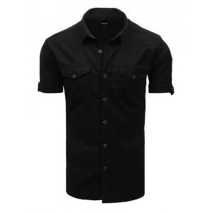 Trendy čierna pánska košeľa s krátkym rukávom a vreckami