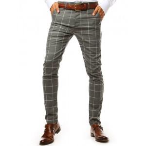 Pánske tmavo sivé spoločenské slim nohavice so vzorom kára
